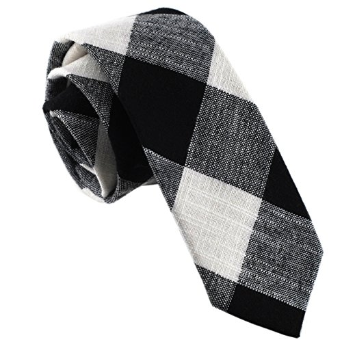 Casual Skinny Cotton Necktie Plaid Slim Ties 2(1/2) :Black/White TC019