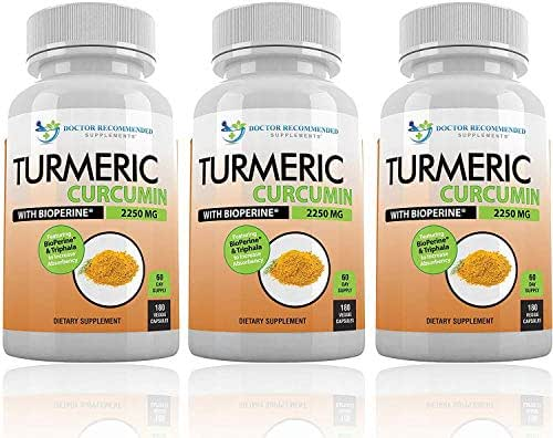 Turmeric Curcumin with Bioperine - 540 Veggie Caps - 2250mg 95% Curcuminoids Highest Max Potency with Black Pepper for Anti-Inflammatory Joint Pain Relief Pills - 100% Organic Supplement with Triphala