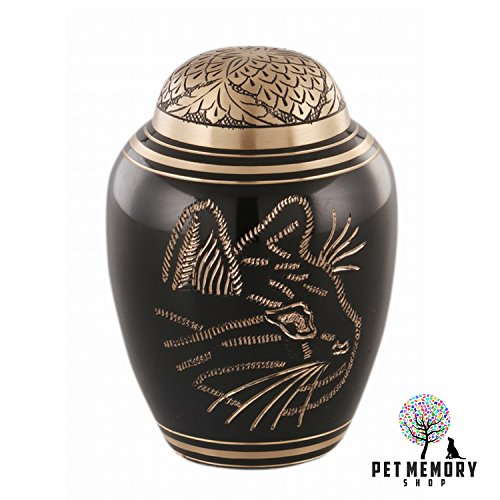 Pet Memory Shop Urn for Cats - Choose Color - Hand-Engraved Egyptian Brass Cat Urn with Free Velvet Urn Bag by Urn for Cats Ashes (Black)