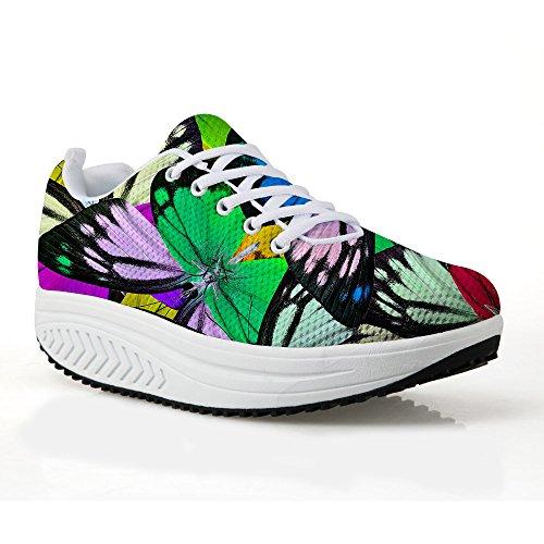 Scarpe Con La Zeppa Per Le Donne Sneakers Da Passeggio Quotidiane Camminata  Quotidiana Scarpe Traspiranti Modello 14cabe2ba3a