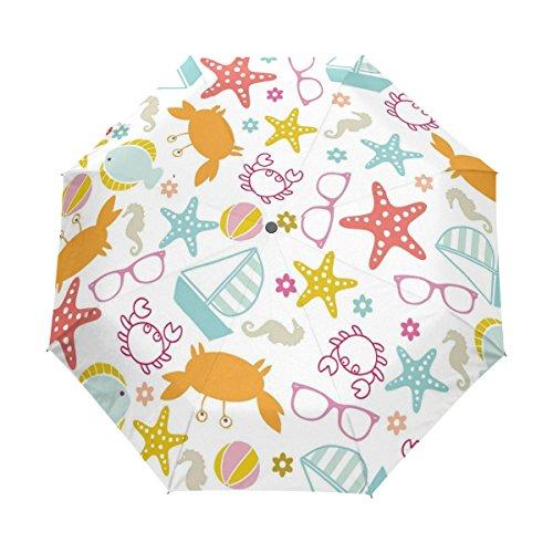 LAVOVO Sea World Starfish Crab Sunglasses Umbrella Double Sided Canopy Auto Open Close Foldable Travel Rain - Sunglasses Crab