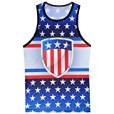 VIASA Fashion Men's Casual Printed Ultra Cotton The Old Glory Independen Sleeveless Tank Top Blouse (M, Blue)