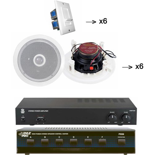 Impedance Matching Stereo Volume Control (Pyle Audio Studio System for your Studio, Bar, Concert, Stage, Home, etc. - PAMP1000 160 Watt Home Stereo Power Amplifier - PSS6 6 Channel High Power Stereo Speaker Selector - x6 PDIC60 6 Pairs of the 250 Watt 6.5'' Two-Way In-Ceiling Midbass Speaker System - x6 PVC2 6 of the Wall Mount Impedance Matching Vertical Sliding Volume Control)