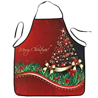 Hot Sale!! Christmas Exquisite Apron,Lelili Christmas Style Cartoon Printed Waterproof Kitchen Dinner Apron (C)
