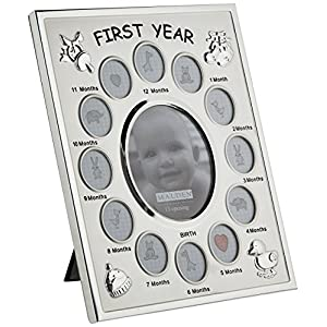 Malden International Designs Baby's First Year Collage Picture Frame, 13 Option, 1-3.5×4, 12-1×1, Silver