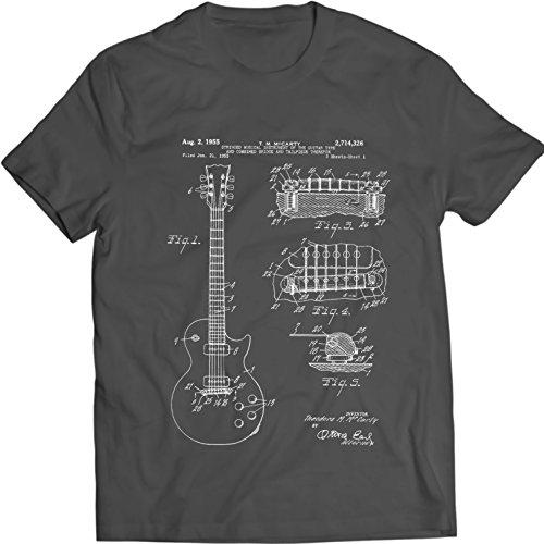 Gibson LES Paul Guitar T-Shirt Music Tee Patent (XL, Charcoal) Double Neck Guitar T-shirt