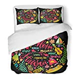 SanChic Duvet Cover Set Hawaii Islands Map and Tourist Attractions Symbols Ukulele Hula Dancer Surfer Pineapple Sunbathing Girl Decorative Bedding Set with 2 Pillow Shams Full/Queen Size