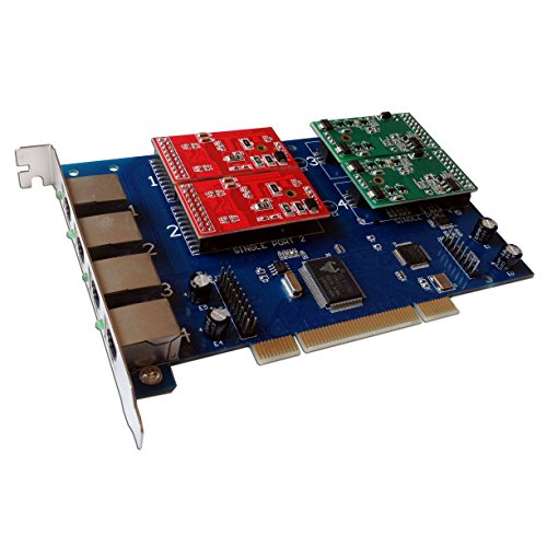 4 Port FXS FXO Card with 2 FXS + 2 FXO Ports,Supports Asterisk,Freepbx,Issabel,Trixbox,Freeswitch,dahdi Asterisk PCI Card VoIP Voice (2 Fxo Port Card)