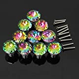Yahead 10pcs Colorful Crystal Glass Cupboard Wardrobe Cabinet Closet Drawer Knob Door Pull Handle Dresser Furniture Kitchen 30mm