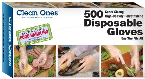 Clean Ones Disposable HDPE Poly Gloves, One Size Fits All - 500ct