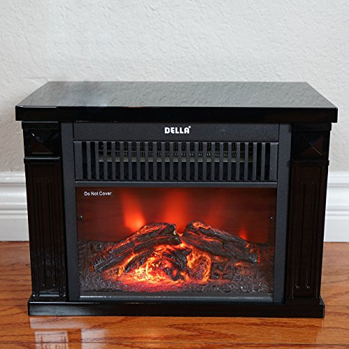 NEW Black,Infrared Tabletop Space Heater Flame Effect Mini Electric Fireplace Portable