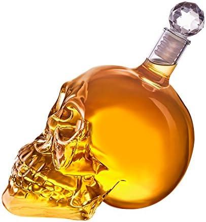 Juego de botella y 6vasos de chupito con forma de calavera, botella de calavera de 350ml, vidrio, 6 Schnapsgläser 25ml + 350ml Karaffe