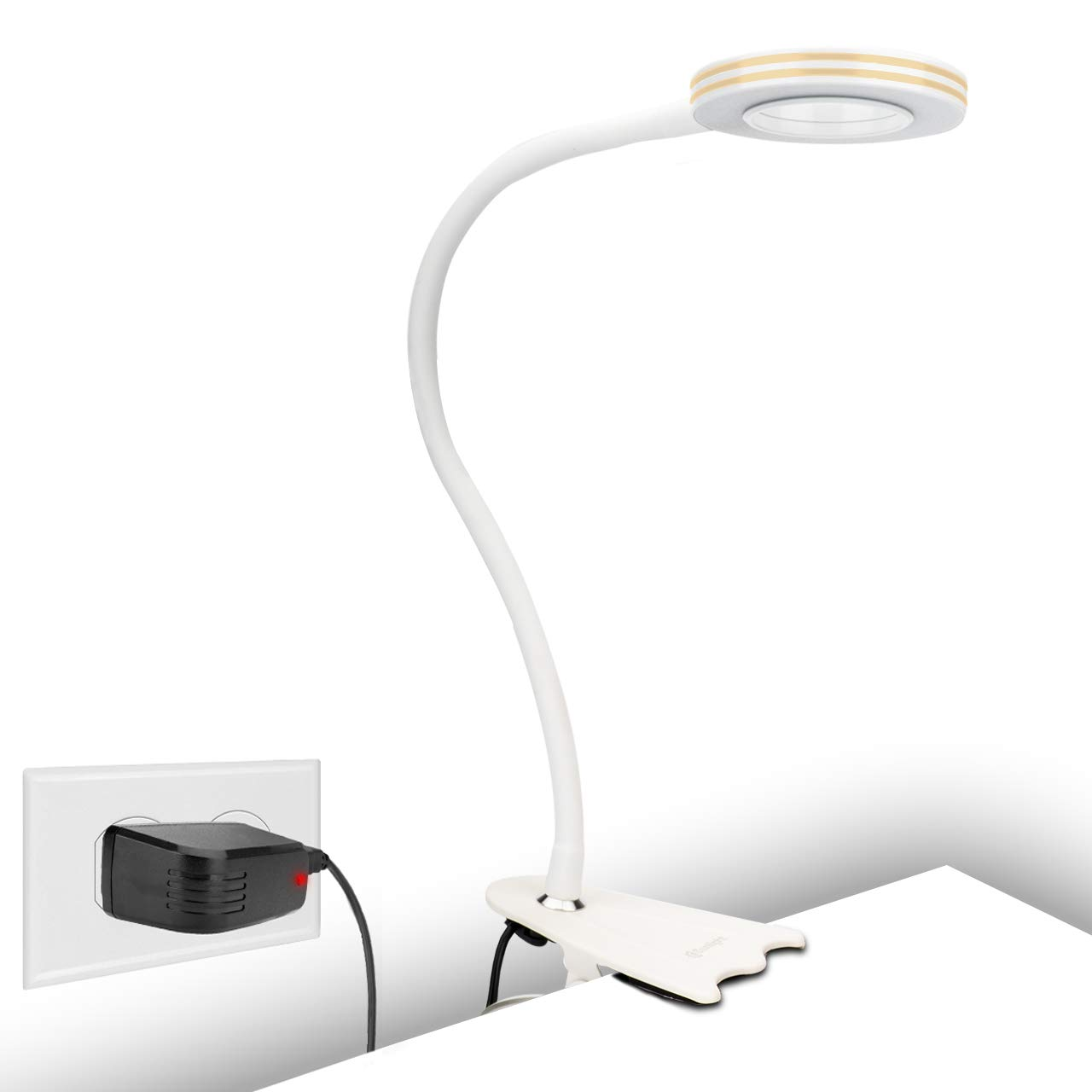 CeSunlight Clip Light, 8W Clamp Bed Desk Lamp, Bedside Led Reading Lamp for Headboard, Warm Daylight White Light 3 Colors, Eye-Care 10 Dimmable Illumination Modes White