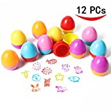 ThinkMax Self-ink Stamps Set for Kids Egg Stampers for Party Favors, Gifts, Prizes, Rewards, Giveaways (12 PCs)