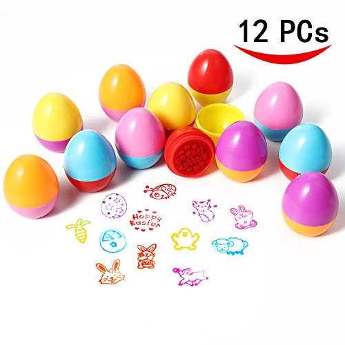 ThinkMax Easter Egg Stampers Set for Kids, Great Easter Toy for Easter Basket Stuffer, Easter Eggs Hunt Game, Easter Theme Party, Easter Egg Stuff, Children's Easter Stamps Activities Gifts (12 PCs)