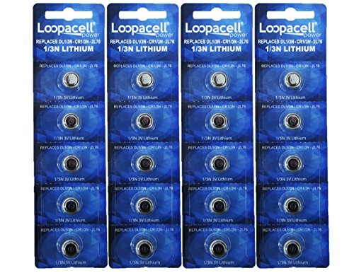 20 Loopacell 1/3N Batteries CR1/3N 3-Volt Lithium Battery