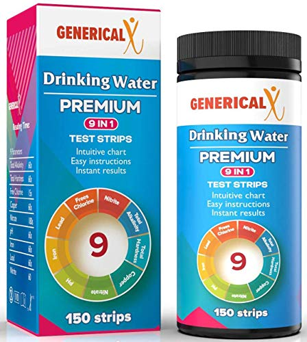 (Drinking Water Test Strips Kit 9 Parameter (FDA Approved 150 Strips) for: ✓Lead ✓Copper ✓Nitrite ✓pH ✓Iron ✓Free Chlorine ✓Total Alkalinity ✓General Hardness ✓Nitrate Safe for Tapwater Freshwater Sa)
