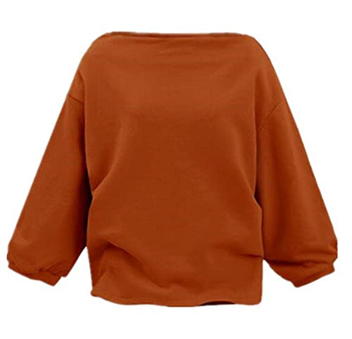 Aivosen Camisetas Tops Para Mujer Color SÓLido Sudaderas Otoño Vintage Manga Larga Elegante T-shirt ...