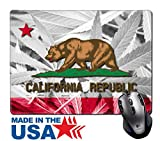 """MSD Natural Rubber Mouse Pad/Mat with Stitched Edges 9.8"""" x 7.9"""" IMAGE ID 37089641 California State Flag on cannabis background policy Legalization of marijuana"""