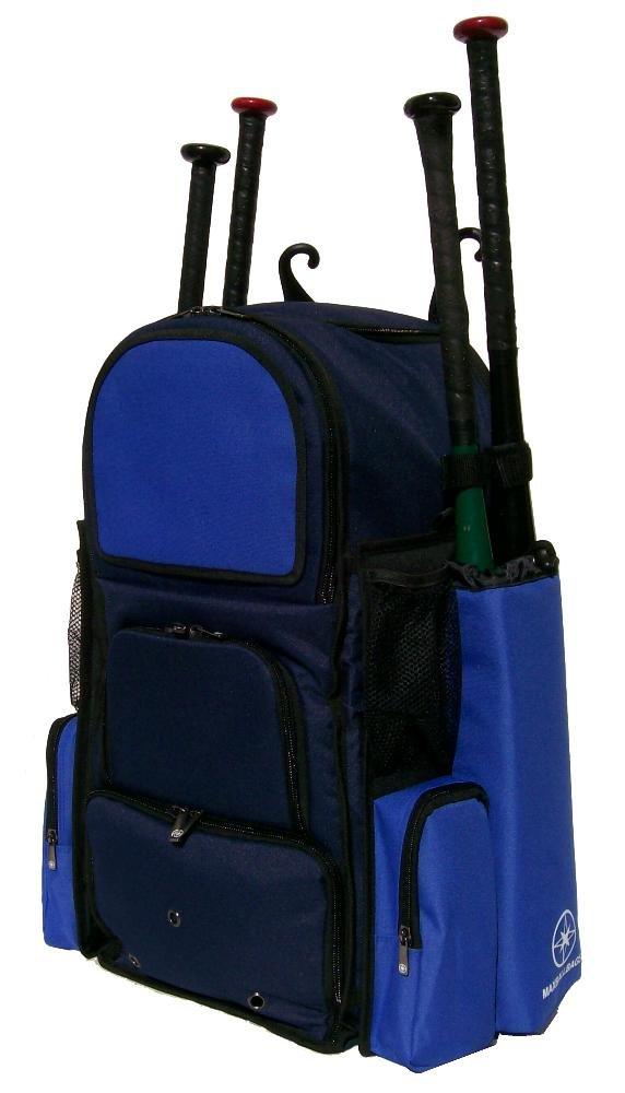 新しいデザインLarge Vista L in Navy Blue andロイヤルブルー大人用ソフトボール野球バット機器バックパックwith革新的なリムーバブルBat袖と刺繍パッチ B01N5IHKY4