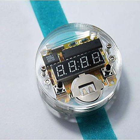 ILS - DIY LED Digital Reloj electrónico del Reloj del Kit con Tapa Transparente: Amazon.es: Electrónica
