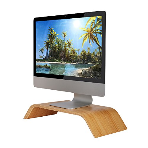 SAMDI Universal Desktop Computer Monitor Heighten Wooden Stand Dock Holder Display Bracket for iMac PC Notebook Laptop(Birch Color) (Bracket Hopper)