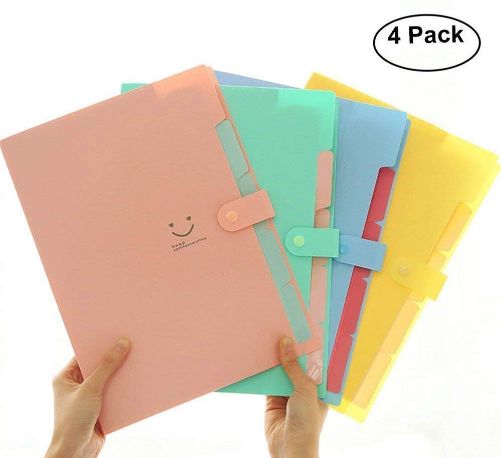 Placstic Expanding File Folders Accordion Document Organizer 5-Pocket A4 Letter Size with Snap Closure for School and Office (4 Pack)
