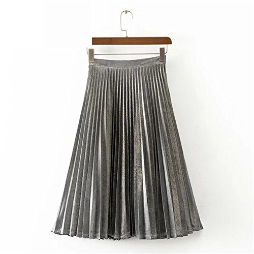 Eault Elegant autumn winter new Metallic Color large swing long pleated women skirt gold sliver purple blue green XS-XXL - Fashion Warehouse Wiki