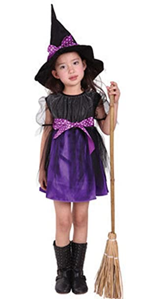 BOZEVON Vestiti Halloween Bambina Costume Halloween Bambini Vestiti  Carnevale Costumi Strega Cosplay Vestito e Cappello 89a264265d7d