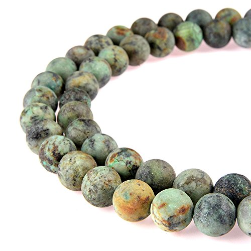 PLTbeads Gorgeous Africa Turquoise Natural Gemstone Loose Beads 10mm Matte Round Approxi 15.5 inch DIY Bracelet Necklace For Jewelry Making