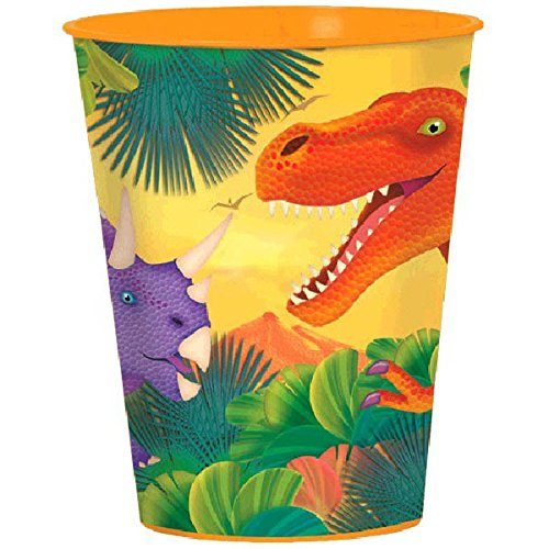 Dashing Prehistoric/Dinosaur Plastic Party Cup Birthday Party Favours Prize Giveaway, 16 oz..