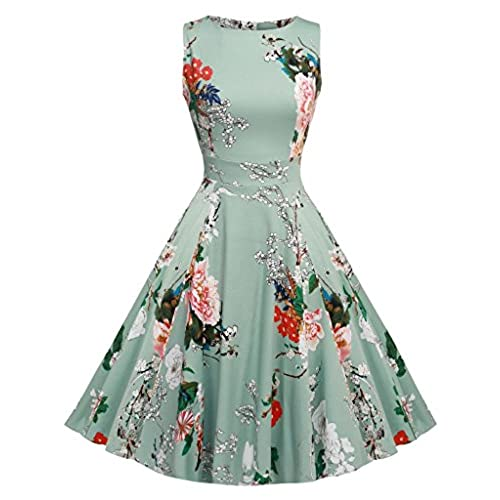 ARANEE Womens 1950s Sleeveless Swing Vintage Party Dresses Multi Colored, Medium, Light Green