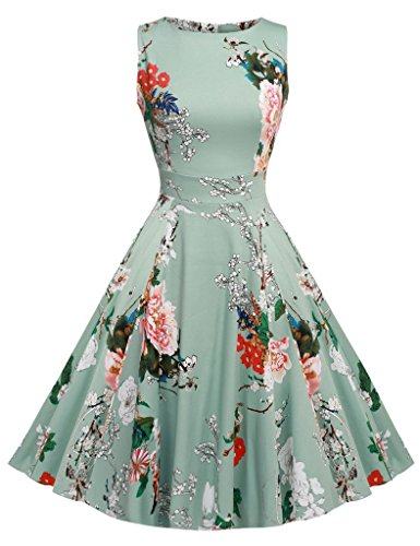 ARANEE Women's 1950s Scoop Neck Vintage Retro Party Cocktail Swing Dresses, Large, Light Green (Vintage Tea Party)