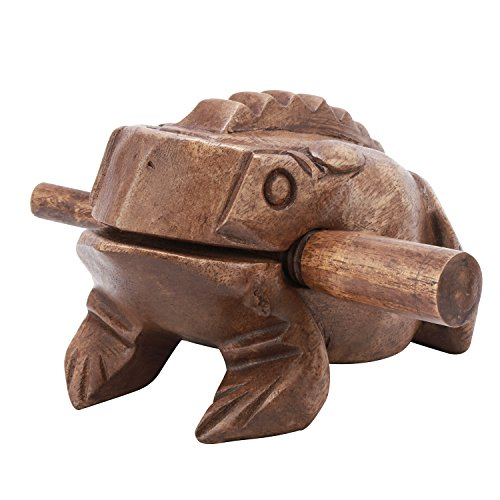 Moukey Handcraft Wooden Frog Guiro Percussion Frog Croaking Ribbit Wooden Block Musical Instrument, Large Size 6 inch ()