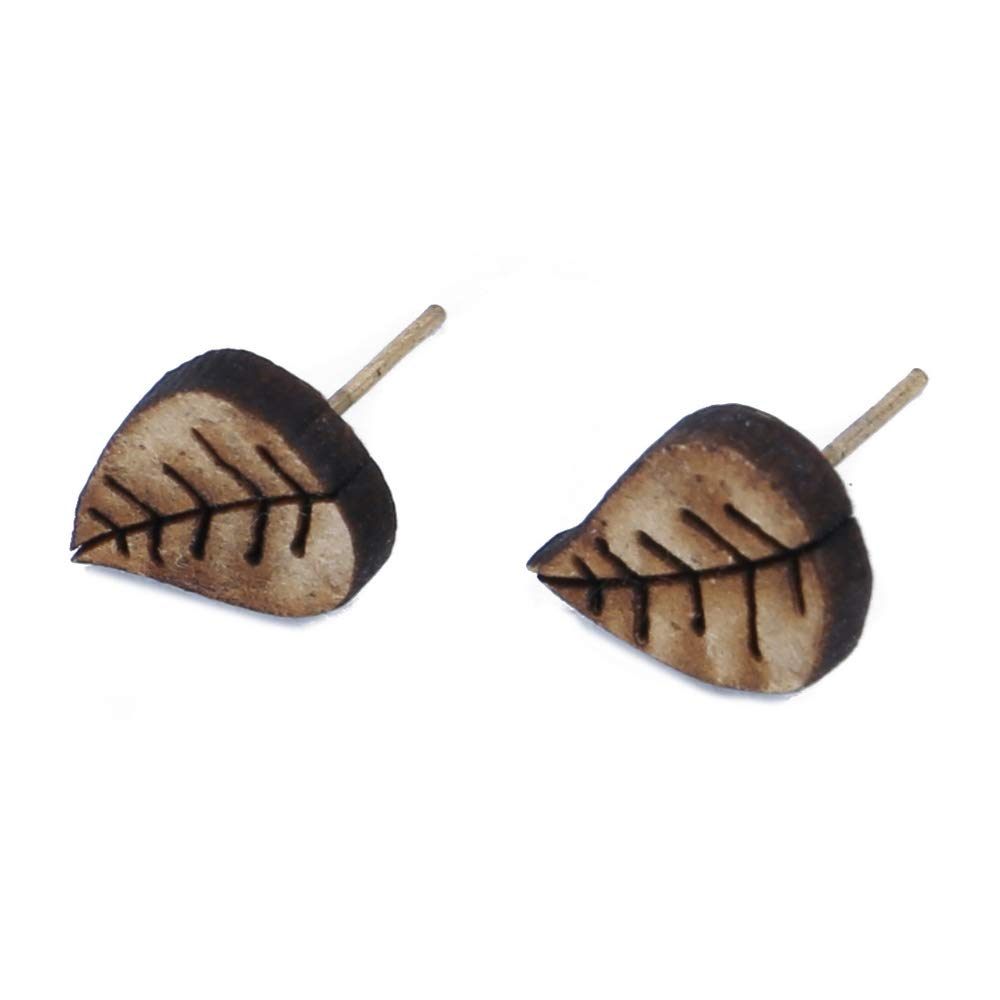 Stud Earring Leaf Made With Wood /& Iron by JOE COOL