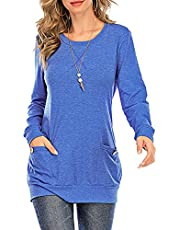 SUNDELL Women's Long Sleeve Shirt Tunic Tops Casual Blouse Pullover Sweatshirt T Shirts with Pockets