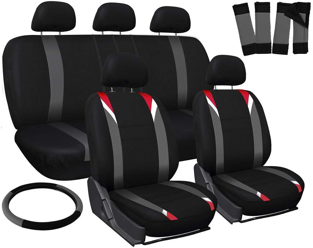 Motorup America Auto Seat Cover Full Set - Fits Select Vehicles Car Truck Van SUV - Black/Red/Gray MUA-SCMS4A-RDGY