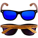 Woodies Zebra Wood Sunglasses with Blue Mirror Polarized Lens for Men and Women 11 Handmade from REAL Zebra Wood (50% Lighter than Ray-Bans) Includes FREE Carrying Case, Lens Cloth, and Wood Guitar Pick Polarized Lenses Provide 100% UVA/UVB Protection