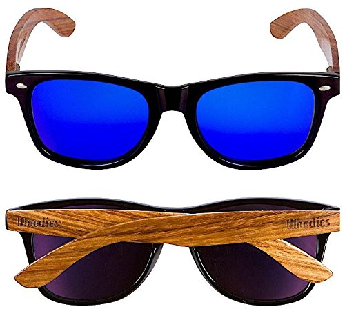 ac679d42f7 WOODIES Zebra Wood Sunglasses with Blue Mirror Polarized Lens 2 Handmade  from REAL Zebra Wood (