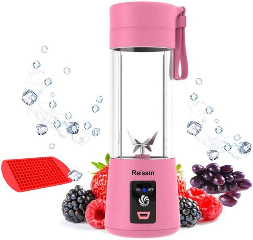 Mini Blender, Portable Electric Juicer Cup 380ML Personal Blender Smoothie Maker USB Rechargeable Fruit Juice Extractor and Mixer with 6PCS Blades for Home Office Outdoor Pink