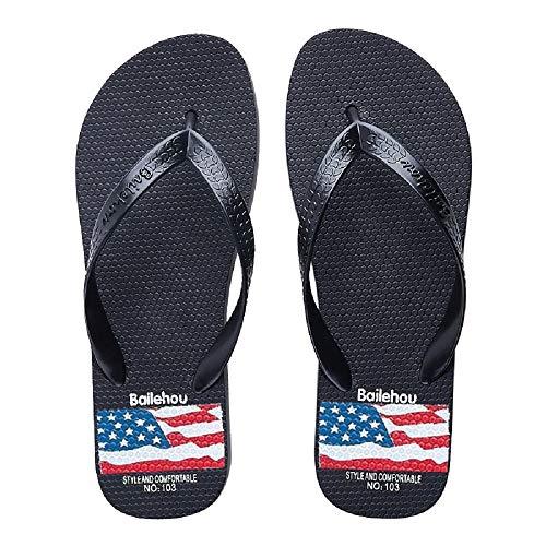 Fuxitoggo Flat 37 Union Jack EU Sandals Rouge Femmes pour coloré Clip Toe Summer Flip Noir Flops Taille qqr1dx8C