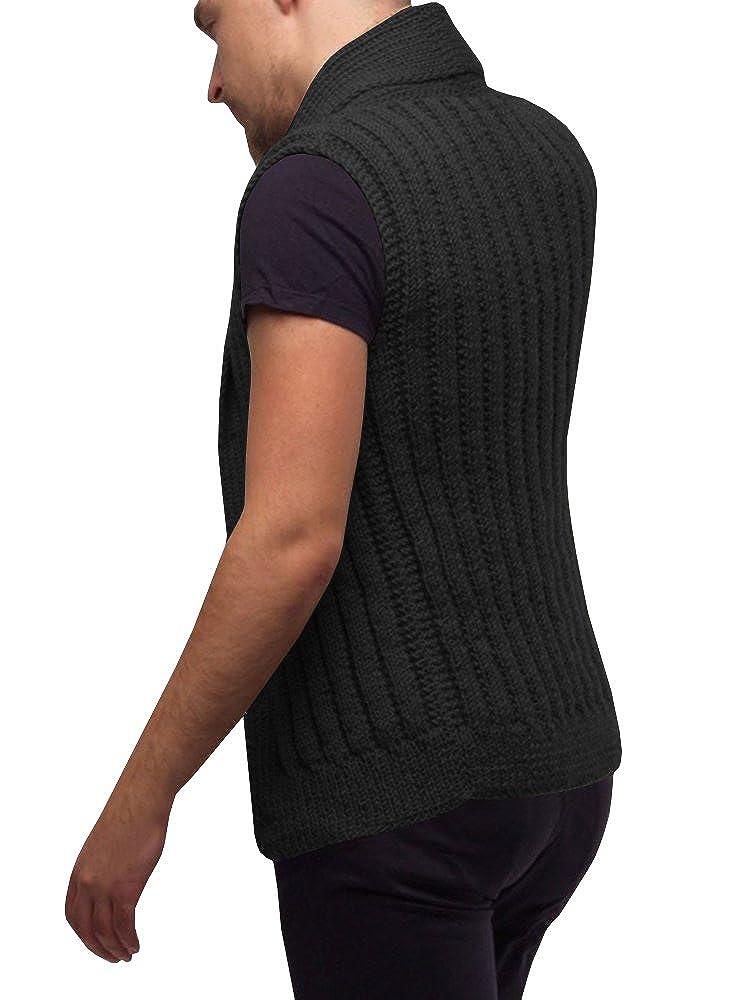 Hestenve Mens Shawl Collar Knit Vest Sleeveless Button Down Cardigan Sweaters Jumper
