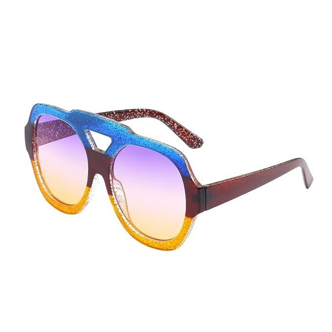UKLoving Gafas de sol hombre polarizadas UV400 Unisex 2019 - Gafas de sol mujer polarizadas baratas - Caja grande espejo redondo bicolor brillante gafas de ...