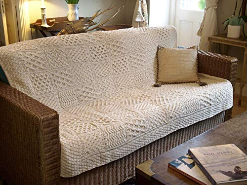 - West End Knitwear 100% Irish Merino Wool Patchwork Blanket/Throw 50