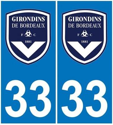 Amazon.es: 2 Pegatinas de matrícula de coche, departamento 33 (Francia) escudo del equipo de fútbol Girondinos de Burdeos