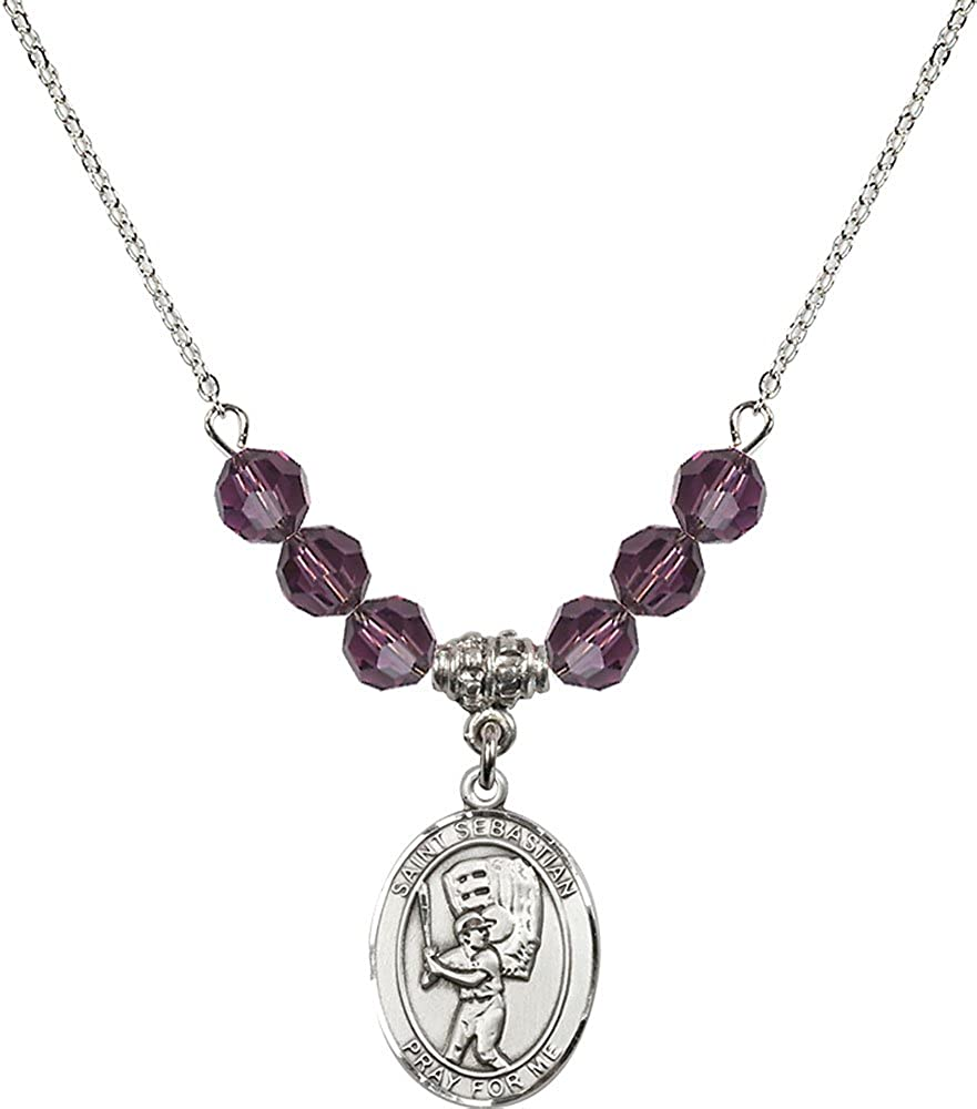 18-Inch Rhodium Plated Necklace with 6mm Amethyst Birthstone Beads and Sterling Silver Saint Sebastian Baseball Charm.