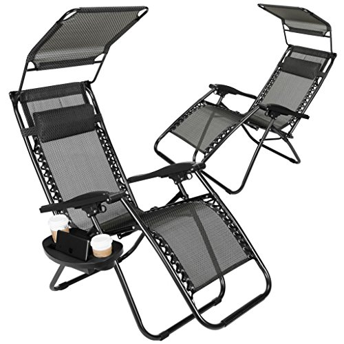 Zero Gravity Outdoor Lounge Chairs w/Sunshade + Cup Holder with Mobile Device Slot Adjustable Folding Patio Reclining Chairs W/Canopy+ Snack Tray (Black) (Mesh Patio Recliner)