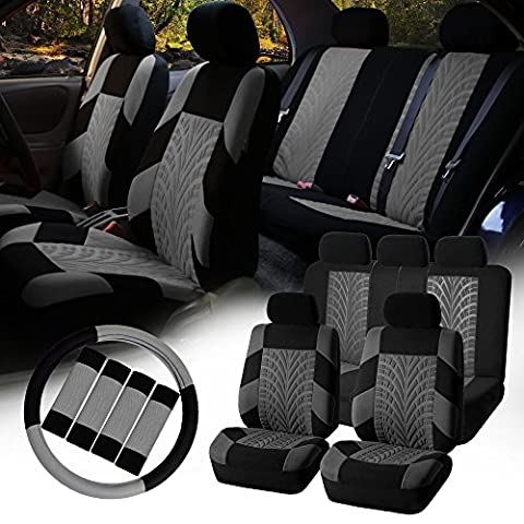 FH-FB071115 Complete Set Travel Master Seat Covers Airbag Ready & Rear Split with Steering Wheel Cover, Seat Belt Pads Gray- Fit Most Car, Truck, Suv, or (2012 Honda Fit Seat Covers)