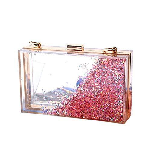 Women Girls Evening Party Acrylic Transparent Glitter Sequins Clutch Box Purse Bag Wedding Handbags (light red) ()