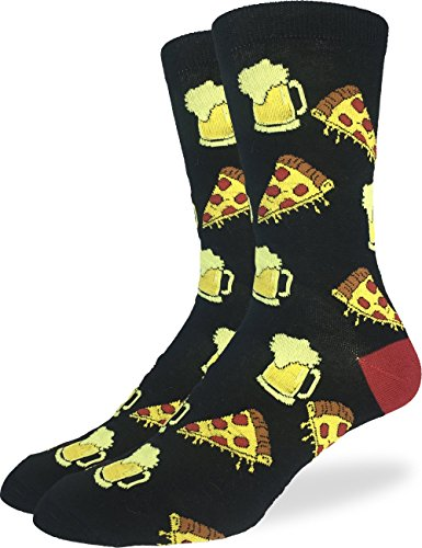 Good Luck Sock Mens Extra Large Pizza & Beer Socks, Size 13-17, Big & Tall